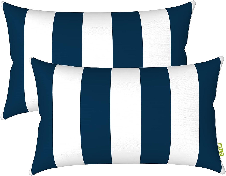 "LVTXIII Outdoor/Indoor Lumbar Pillow Case Covers, 12"" x 20"" Patio Garden Decorative Lumbar Pillow Covers Pack of 2 for Outdoor Home Patio Furniture Use - Cabana Navy"