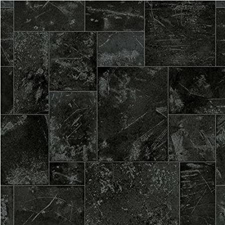 3m X 2m Ftw Boston Steel Black Silver Tile Effect Cushion Floor