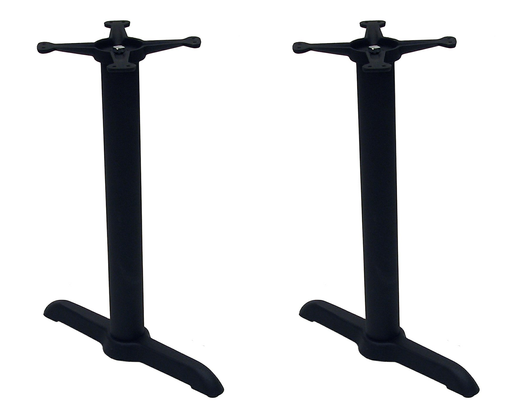 ATC B-Series Black Indoor Cast Iron Table Base with Two Columns and 2 13'' Spyders, 22'' L x 5'' x 28'' H by American Trading Company