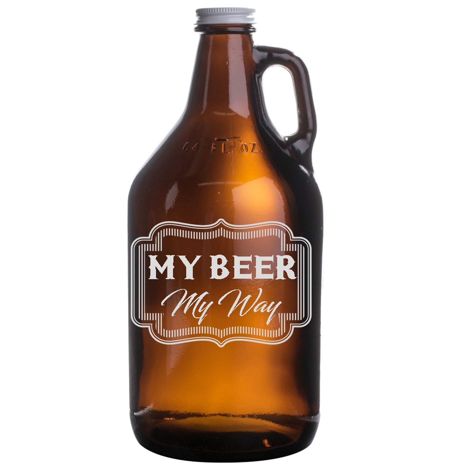 Personalized Etched 64oz Amber Beer Growler - Crispy Board