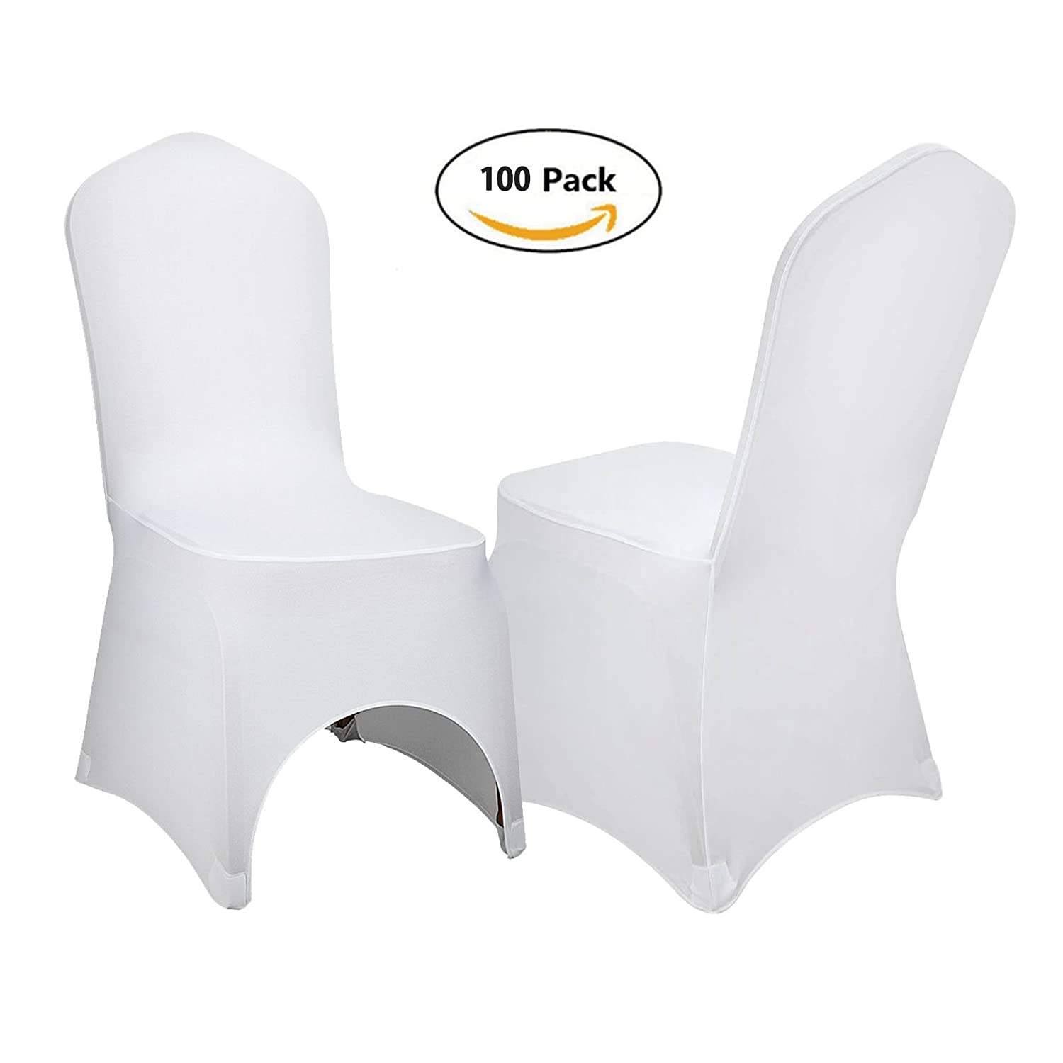 Anhon 100 STÜCKE Stuhlabdeckung Schonbezüge für Stühle Weiße Farbe Esszimmerstuhlabdeckung Abnehmbare Stuhl abdeckungen Polyester Spandex für
