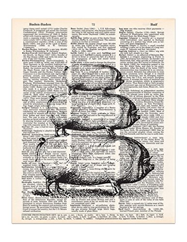 Pig Print (3 Stacked Pigs, Farmhouse Decor, Dictionary Page Art Print, 8x11 UNFRAMED)