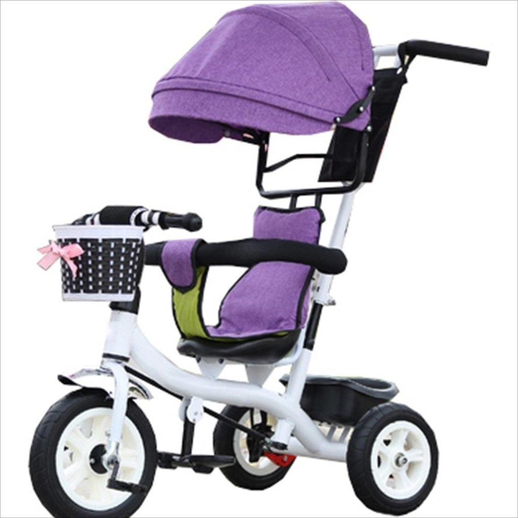 子供の屋内屋外の小さな三輪車自転車の男の子の自転車の自転車6ヶ月 6歳の赤ちゃんの3つのホイールトロリー天井、ゴムホイール(紫、白) B07DVGYP78