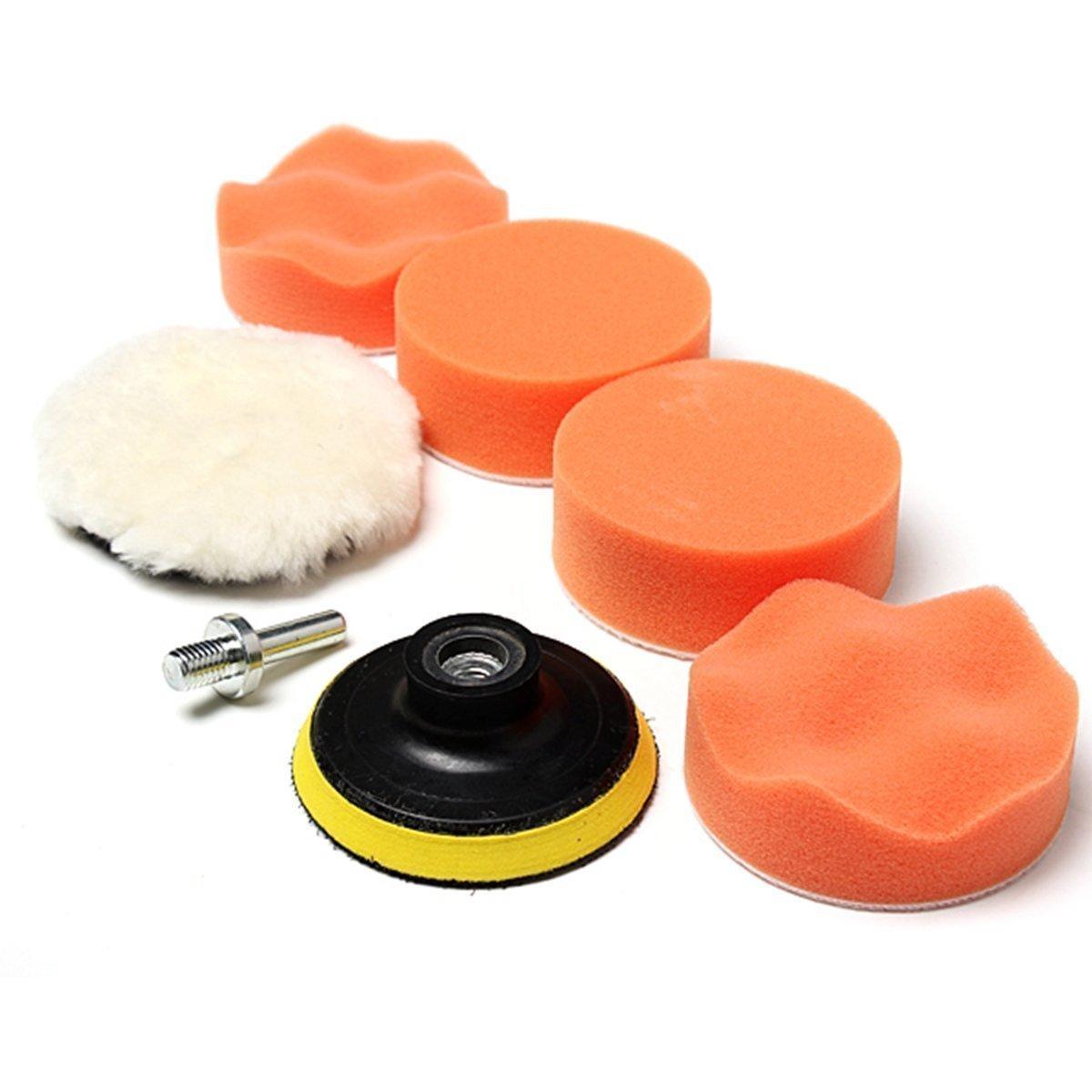 MAXGOODS 7Pcs/Set Esponja de Pulido Abrillantar para Pulir Encerar Espuma con Adaptador de Taladro para Lijado de Coche Automó vil Auto Color Naranja Pad Kit Limpiar