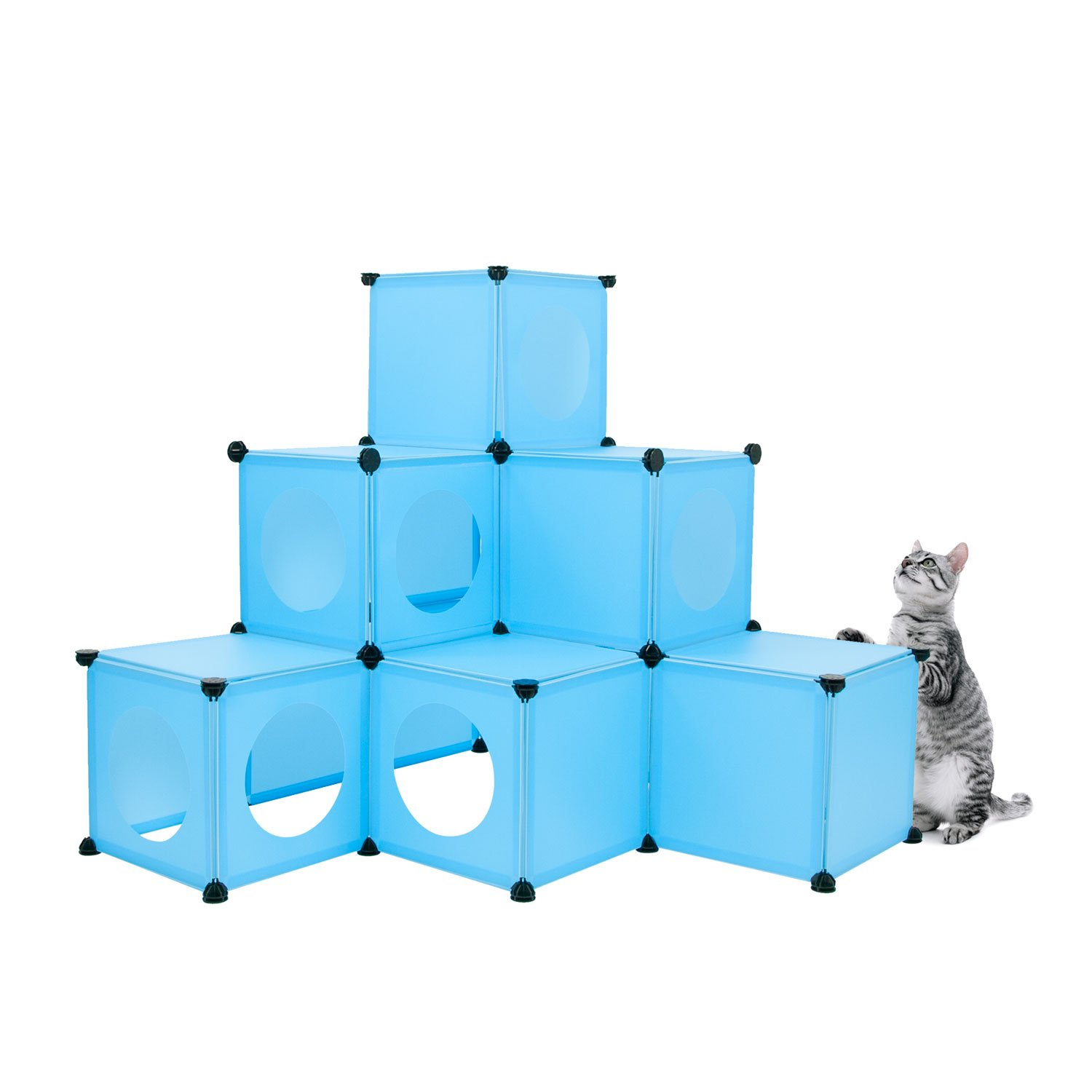 FrontPet Cat Condo/Blue XL Modular 109 Piece Cat Condo/Cat House/DIY Cat Tower/Cat Tree Kit/Build Your Own Fully Customizable Cat House By