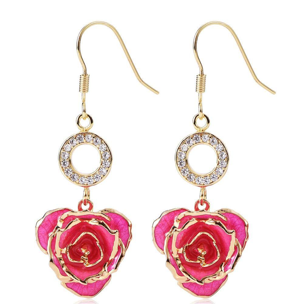 Pendientes para mujer 24K Bañadas en oro con flor de rosa Cuelgan aretes Orejas Hecho fresca, Última siempre Madre/Acción gracias Navidad San Valentín ...