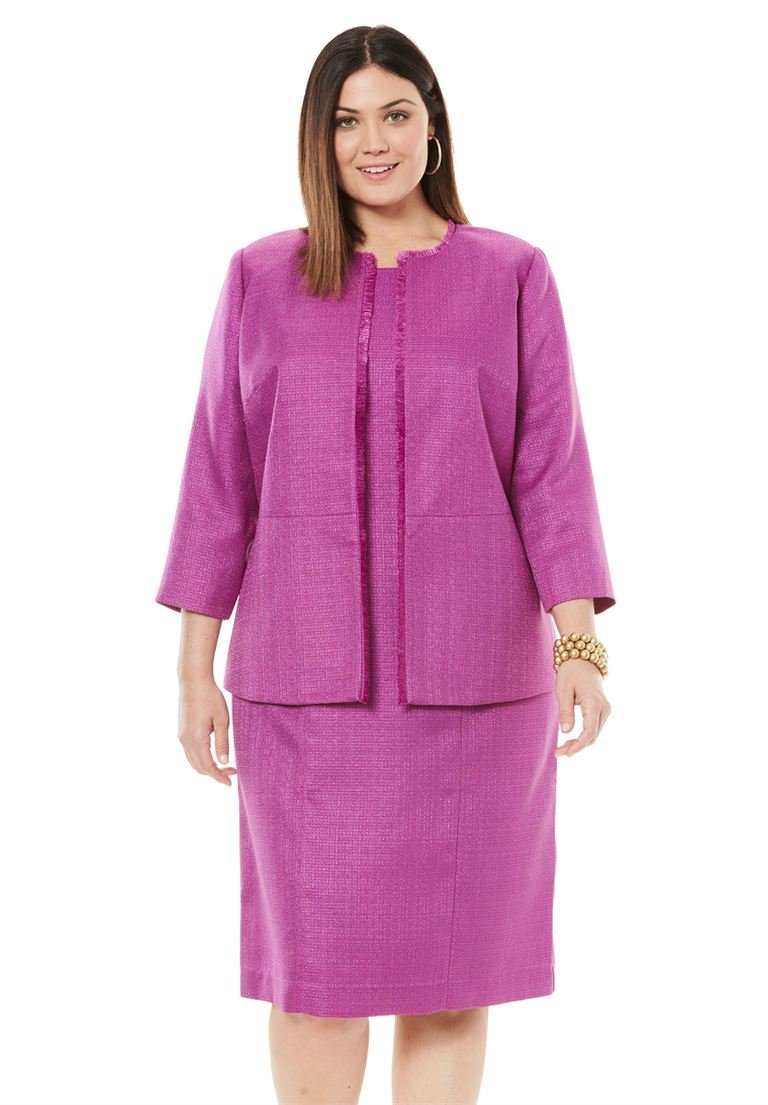 Jessica London Women's Plus Size Tweed Jacket Dress Radiant Orchid,20 W by Jessica London