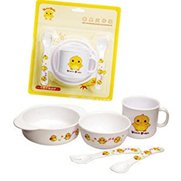 MuLuo 5 Piece Kids Dinnerware Set Eco-Friendly Bamboo BPA Free Chicken Design  sc 1 st  Amazon.com & Amazon.com : MuLuo 5 Piece Kids Dinnerware Set Eco-Friendly Bamboo ...