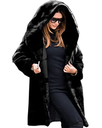 9dc706fd88b Aox Women Winter Coat Grey Fluffy Faux Fur Hood Warm Thicken Casual Outdoor  Jacket Anorak Plus