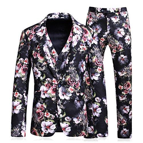 MAGE MALE Men's Elegant 3 Pieces Suit Floral Pattern Slim Fit Single Breasted One Button Tux Jacket Vest Pants Set, X-Small, Floral (Mens Leisure Suit)