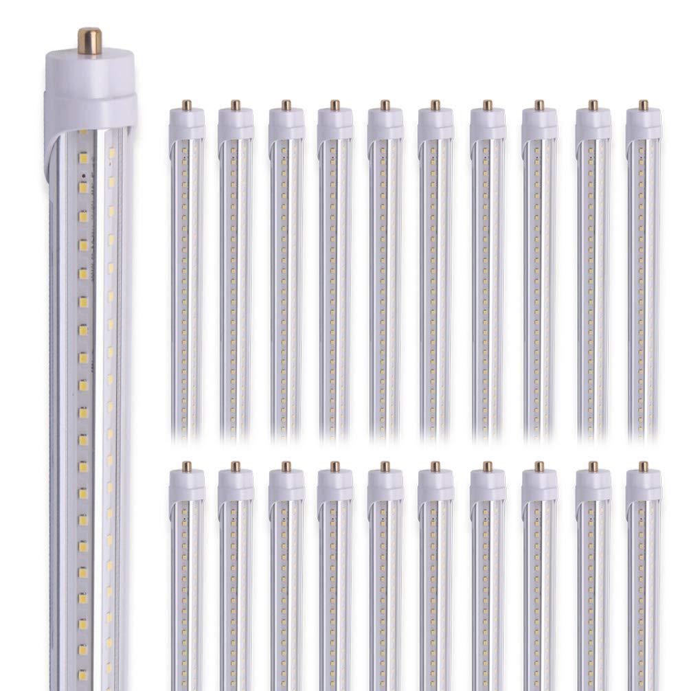 Kihung 8FT LED Light Tube, T8, V Shape, 65W, 8000lm, 5000K (Super Bright White), led Shop Light Tube 8'', Fa8 Single Pin Tube Light, 20-Pack