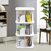 Versatile Square Wooden Rotating Swivel Bookshelf Bookcase Cabinet White Up to 190cm (3 Tiers)