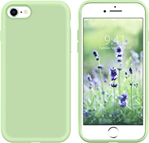 GUAGUA iPhone SE 2020 Case iPhone 8 Case iPhone 7 Case 4.7-inch Liquid Silicone Soft Gel Slim Microfiber Lining Cushion Texture Cover Shockproof Protective Cases for iPhone 8/7/SE 2020 Matcha Green