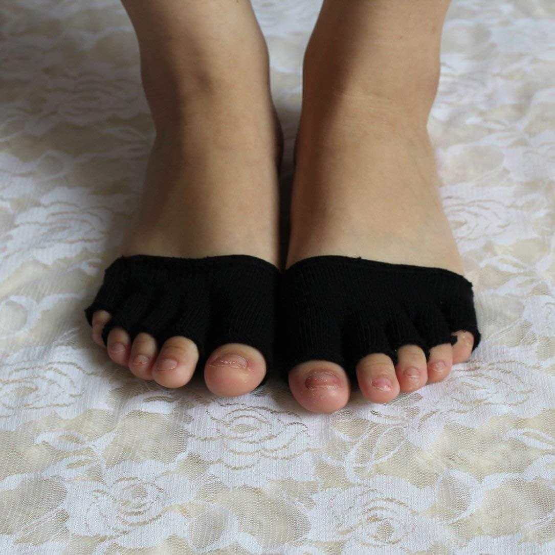Femmes Filles Non Slip Talons Hauts Sandale Invisible Demi Footie Bout Ouvert Tricot/é /À C/ôt/é 5 Toes Absorption De La Transpiration Chaussettes Chaud