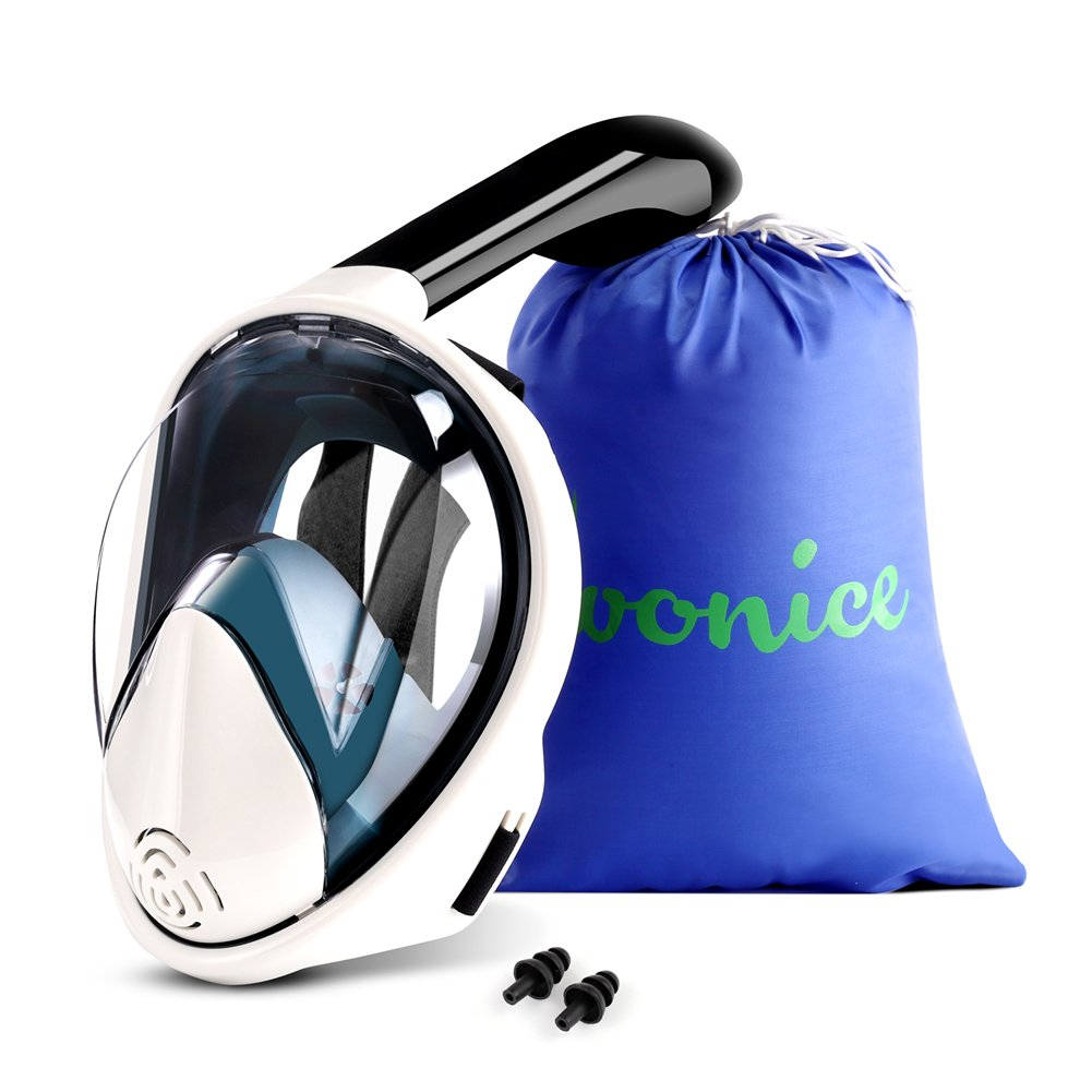 WONICE Snorkel Mask Full Face for Adults,180°Panoramic View Anti-Fog, Anti-Leak with Adjustable Head Straps,Compatible and Detachable GoPro Snorkeling & Swimming Mask by WONICE