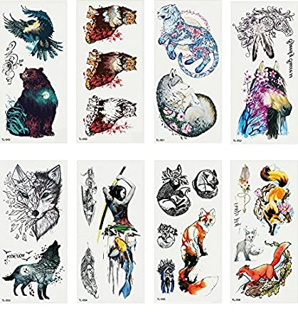 975f374c1 Amazon.com : Oottati 8 Sheets Temporary Tattoo 3D Stickers Hand Ankle Hand  Paint Bear Eagle Tiger Wolf Horse Feather Fox Ink : Beauty