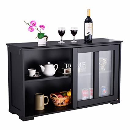 Costzon Kitchen Storage Sideboard, Antique Stackable Cabinet For Home  Cupboard Buffet Dining Room (Black