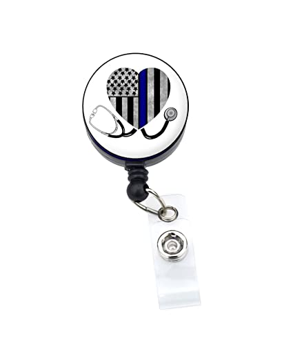 6bf40def2d4b Amazon.com   Thin Blue Line Nurse Badge Reel Retractable ID Badge Holder  (Blue Line Heart Stethoscope White 1.25)   Office Products