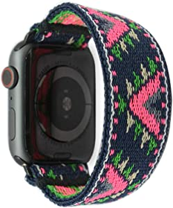 Tefeca Pink V Pattern Stretch Elastic Compatible/Replacement Band for Apple Watch 38mm/40mm (Black Adapters, M fits Wrist Size : 6.5-7.0 inch)