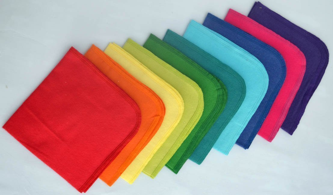 1 Ply Cotton Flannel 12x12 inches-Rainbow Napkins -10 Pack