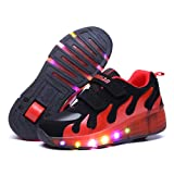 Kids LED Light Sneakers Luminous Trainers Roller Skate Flying Shoes With A Wheel Adult Flashing Shoes