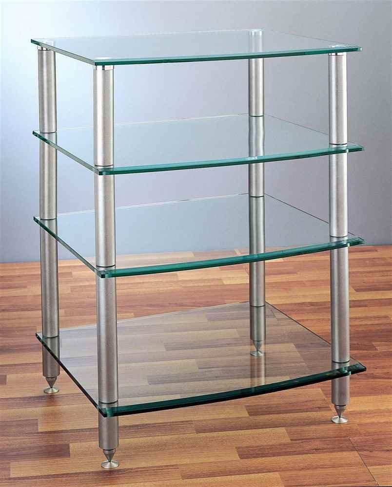 Design Glass Shelves amazon com vti agr 404 4 shelf silver glass audio rack black home theater