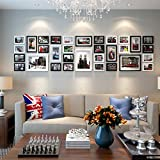 Photo frame wall Photo wall creative American photo frame wall combination of corporate culture background wall 32 box Photo Wall ( Color : Black and white )