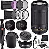 Nikon AF-P DX NIKKOR 70-300mm f/4.5-6.3G ED VR Lens + 58mm 3 Piece Filter Set (UV, CPL, FL) + LENS CAP 58MM + 58mm Lens Hood + Lens Pen Cleaner + Cleaning Cloth + Lens Cap + SLR Lens Pouch Bundle