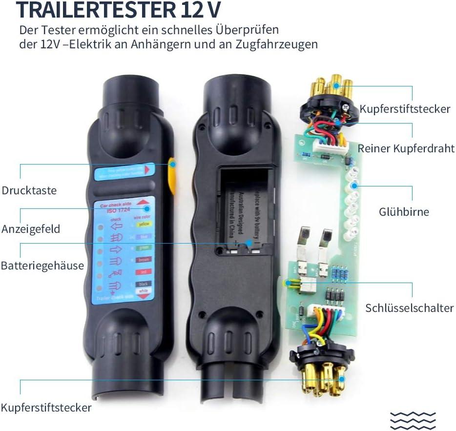 Caravan Trailer Tester Pr/üf-//Testger/ät 7 polige 12V Anh/ängerbeleuchtung Testger/ät f/ür PKW-Anh/änger