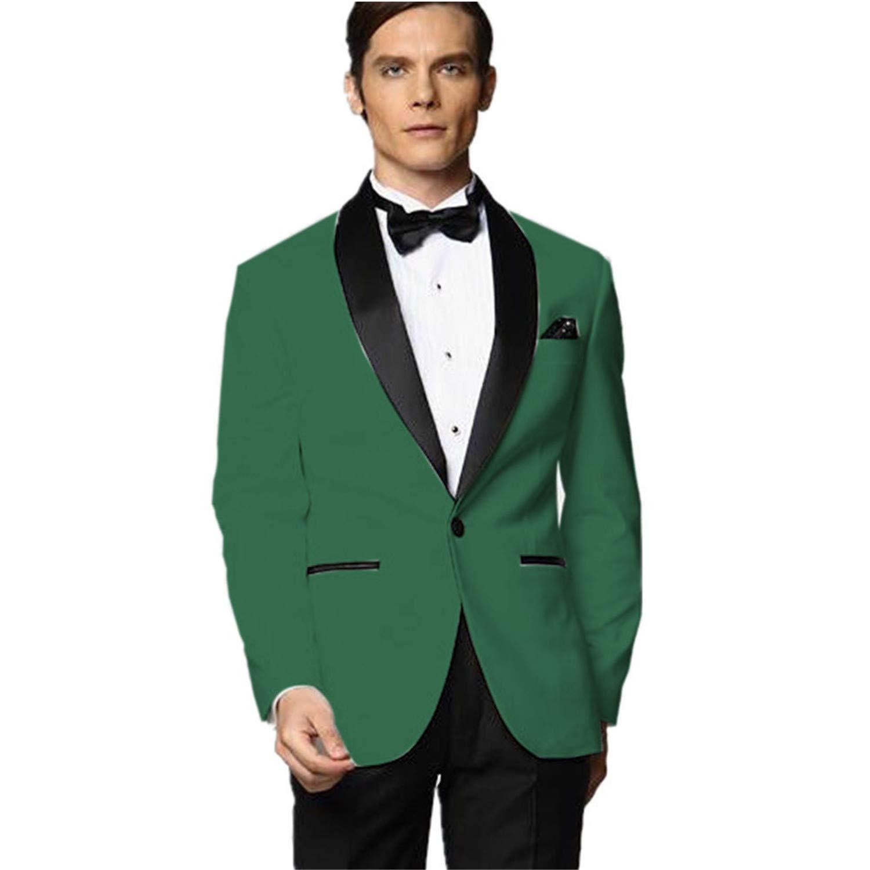 MYS Mens Custom Made Groomsman Tuxedo Green Suit Black ...