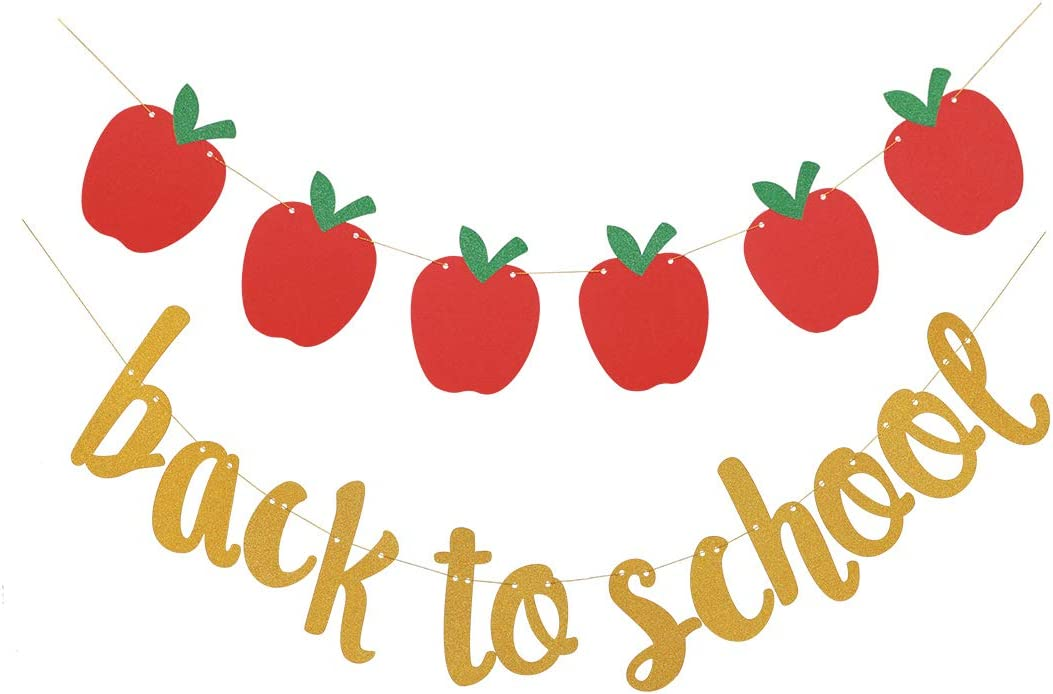 Topfunyy Back to School Glitter Banner Apple Garland Banner for First Day of School Teacher Banner Apple Themed Party Classroom Decor Schoolyard Party Supplies