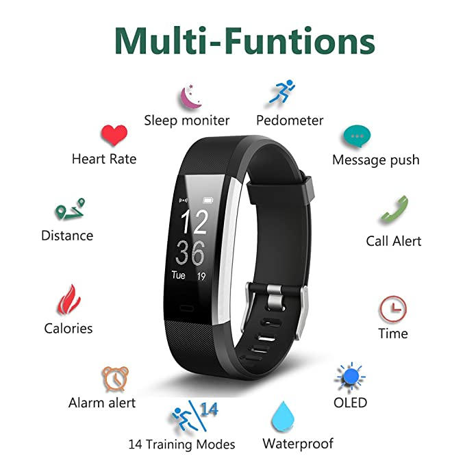 Fitness Tracker, Waterproof Activity Tracker with Heart Rate Monitor  Bluetooth Smart Watch Wireless Smart Bracelet Sleep Monitor Pedometer  Wristband