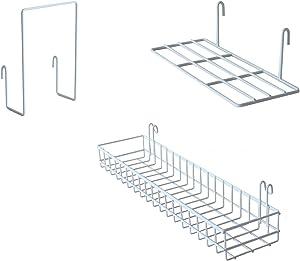 FRIADE Wall Grid Panel Hanging Basket with Hooks,Bookshelf,Display Shelf,Wall Organizer and Storage Shelf for Home Supplies,1 Set of 3 (White)