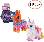 3 Pack Mexican Mini Pinatas - Unique Unicorn Pinatas Donkey Camel Pinatas with Hanging Loop for Mexican Themed Party, Fiestas