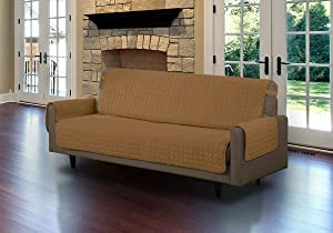 Linen Store Quilted Microfiber Pet Furniture Protector Cover with Tucks and Straps, Camel, Sofa
