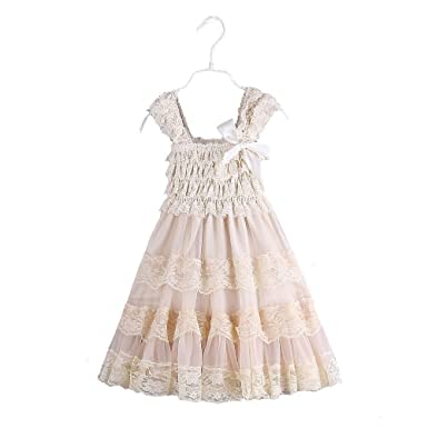 Ever Fairy Lace Flower Rustic Burlap Kids Baby Girl Country Wedding Dress Champange