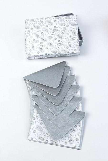Nota-botiquín en caja de 13 x 9 cm - 6 Notales, color blanco con cachemira plateada - Papel hecho a mano con algodón reciclado: Amazon.es: Oficina y papelería