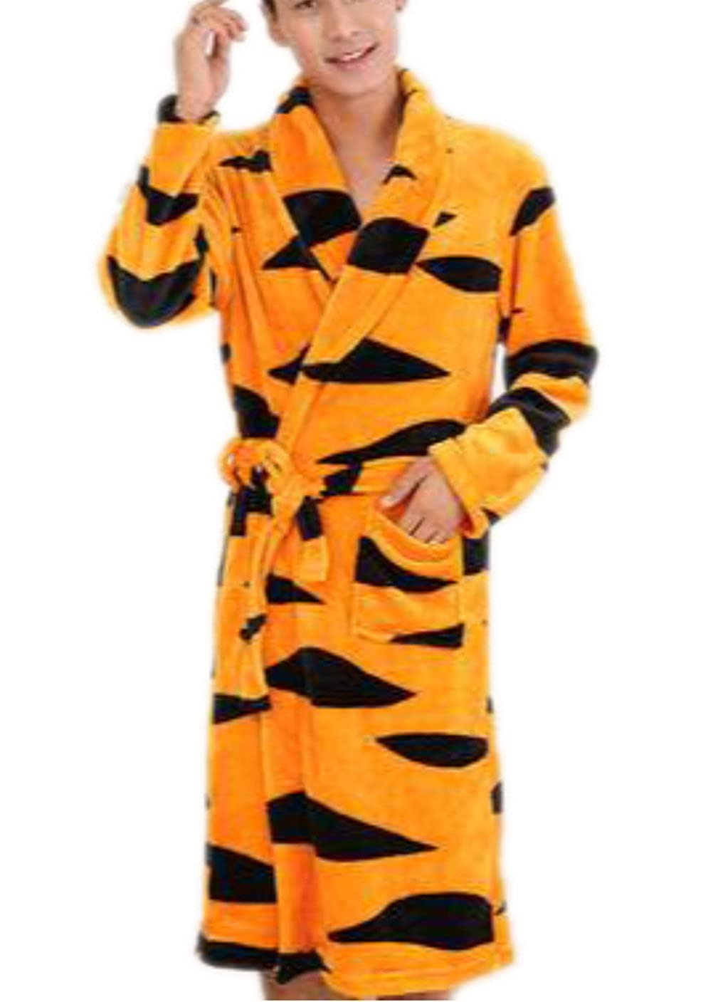RESPEEDIME Mens Flannel Pajamas Autumn Winter Nightgown Warm Bathrobe Robe
