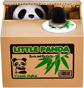 HmiL-U Panda Stealing Money Bank, Piggy Bank for Kids, Coin Bank for Money Saving, Automatic Stealing Money with English Speaking, Creative Gift