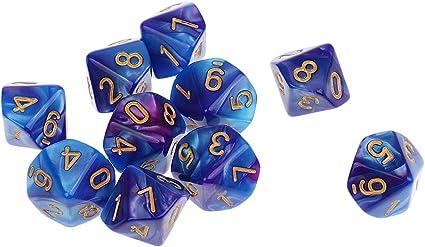 10Pcs Ten Sided Dice D10 für Dungeons und Dragons MTG TRPG Game Toys