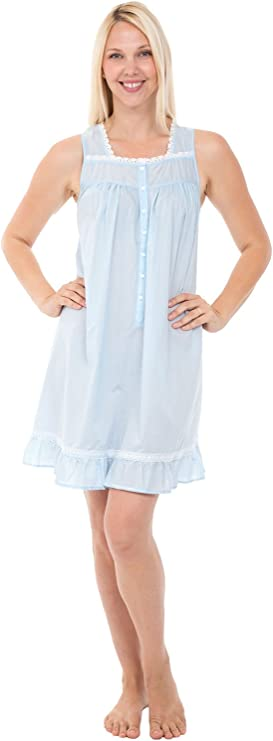 1960s – 1970s Lingerie & Nightgowns Alexander Del Rossa Womens 100% Cotton Lawn Nightgown Sleeveless Button Up Ruffled Sleep Dress $34.99 AT vintagedancer.com