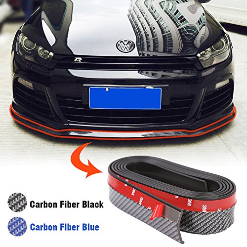 KOOYAOO 8FT Universal Spoiler Lip Front Bumper Side Skirt Protector Rubber DIY Anti-Scratch for Cars(Black) (Car Side Skirts)