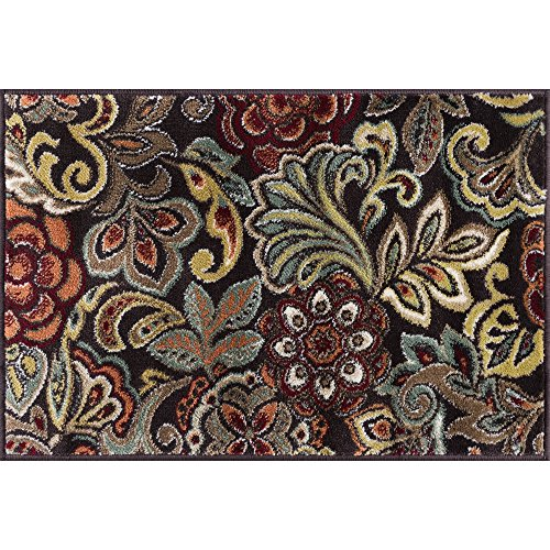 Dilek Contemporary Abstract Brown Scatter Mat Rug, 2' x 3'