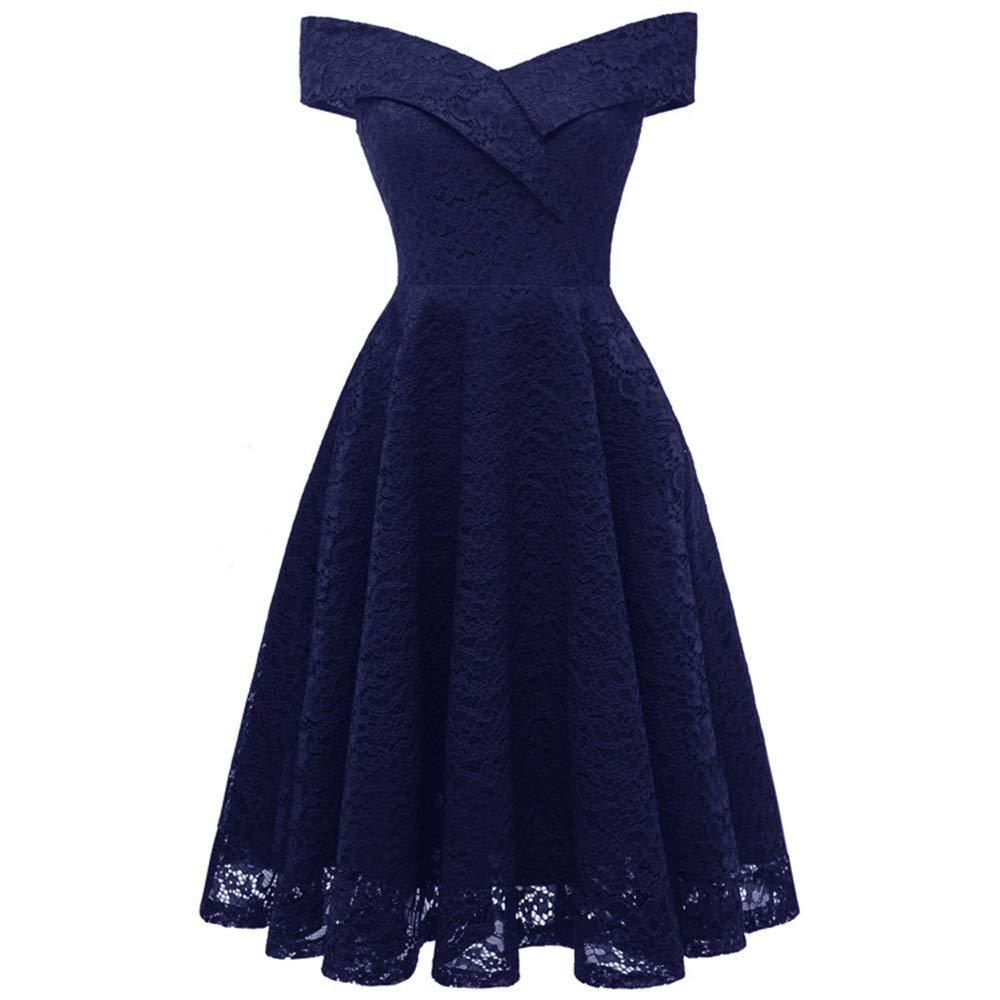 Dark bluee Women's Dress Ladies Party Evening Dresses Women's Vintage Princess Lace Cocktail Dress Elegant Off Shoulder Swing Dress Women's Vintage Dress (color   Red Wine, Size   L)
