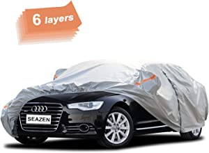 SEAZEN Car Cover 6 Layers, Waterproof Sedan Car Cover with Zipper Door , Snowproof/UV Protection/Windproof, Universal Car Covers Breathable Fabric with Cotton(185