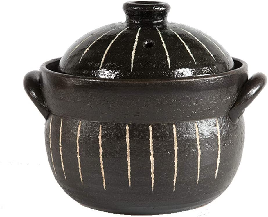 ZZFF Clay Rice Cooker,Japanese Donabe Stone Rice Pot with Double Lid,Earthenware Rice Pot,Stockpot,Heat Resistant Ceramic Casserole,Round Stove Stew Pot Black 21x17.5cm(8x7inch)