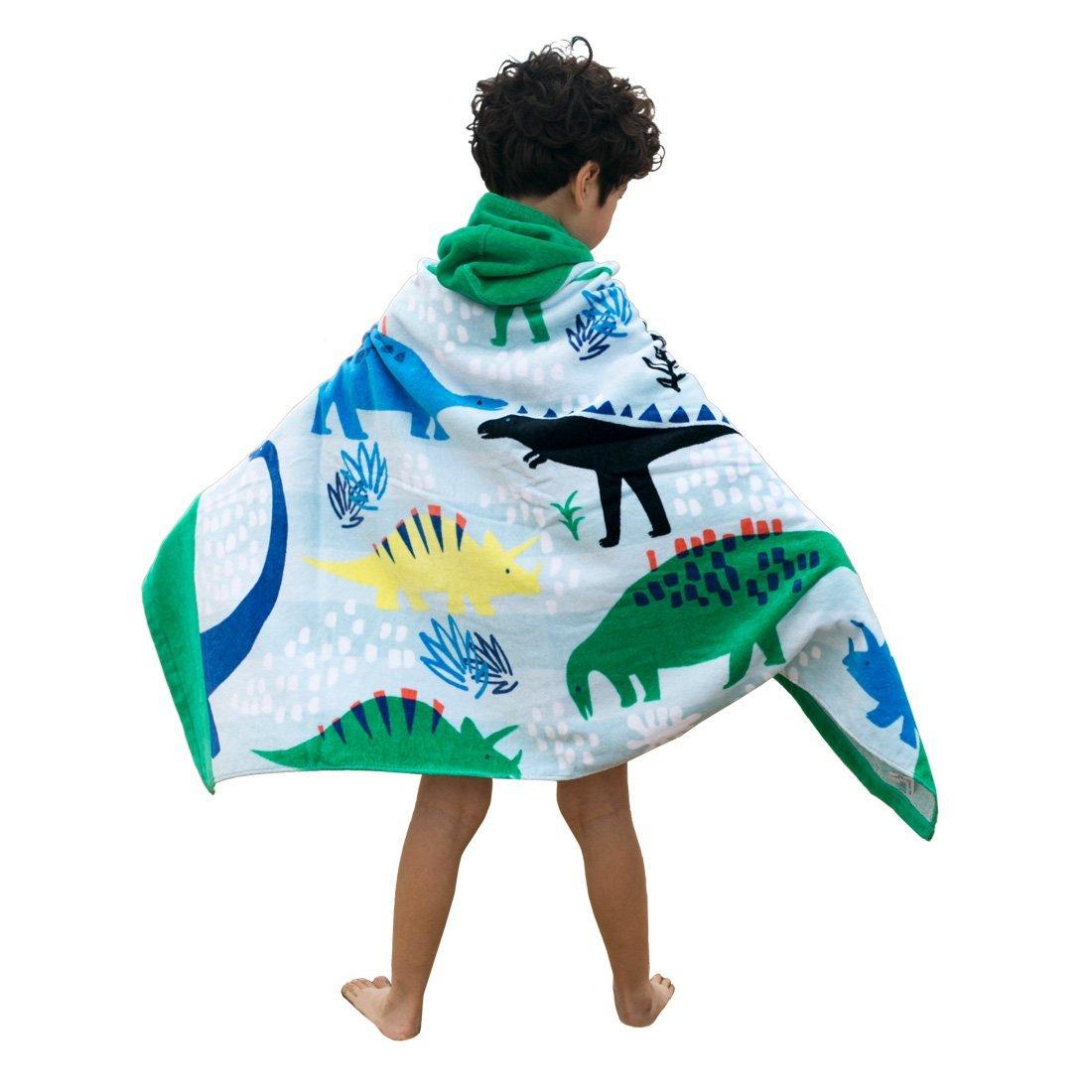 Artown Kids Bath Towel, Ultra Soft Hooded Poncho Swim Pool Beach with Cute Cartoon Animal for Boys Girls - 100% Organic Cotton Bathrobes (Dinosaur)