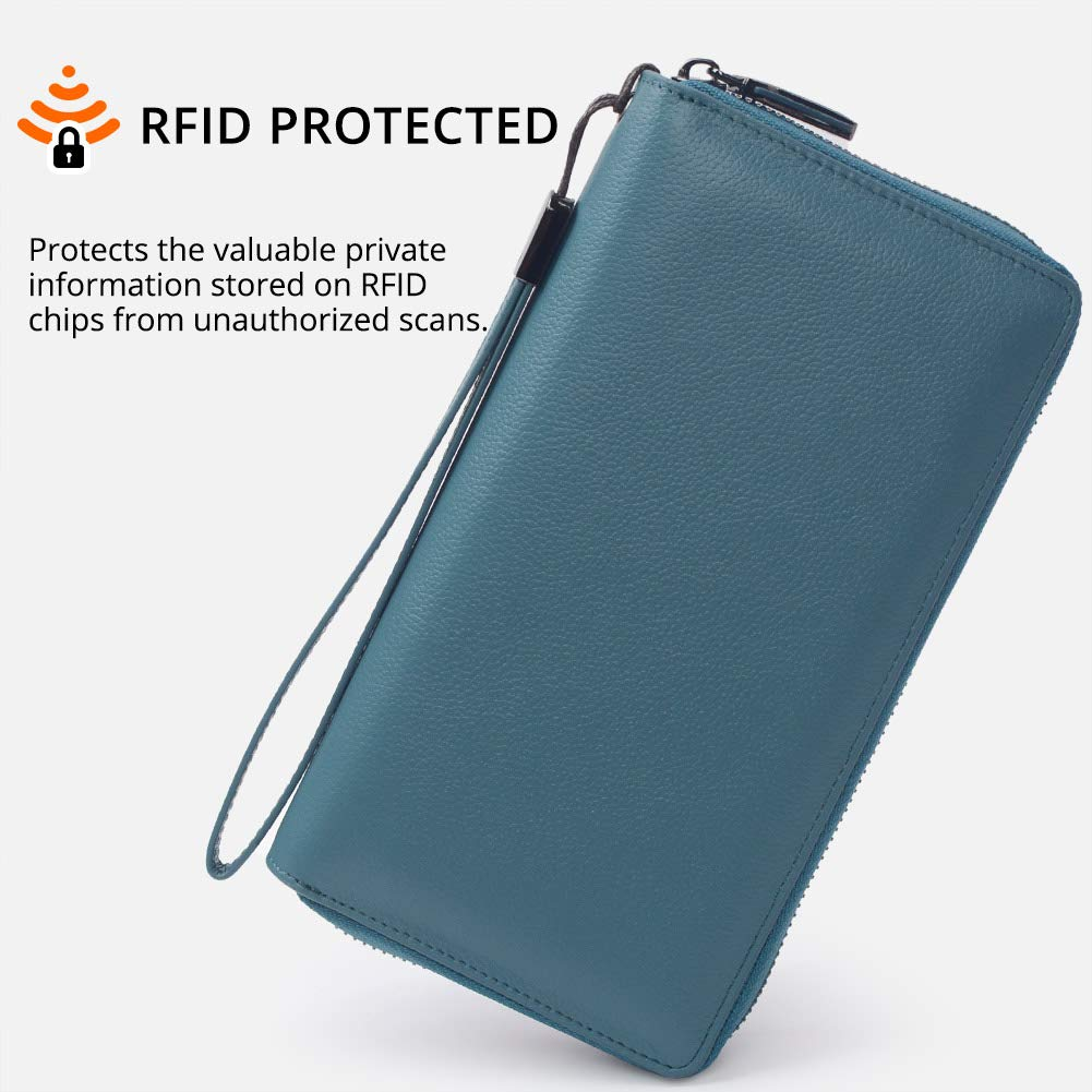 Women RFID Blocking Wallet Leather Zip Around Phone Clutch Large Travel Purse Wristlet (Lake Blue) by Bveyzi (Image #2)