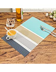 HEBE Placemats Washable Dining Table Placemats Heat Resistant Non Slip  Kitchen Table Mats Set Of 4 Easy To Clean Everyday Use(4, Blue)