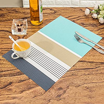 HEBE Placemats Set of 6 for Dining Table Washable Woven Vinyl Placemat Non-Slip Heat Resistant Kitchen Table Mats Wipe Clean Christmas Holiday Placemats,Blue - Placemats set of 4.Protect your table from scratches and stains ,liquid can go through woven vinyl placemats ,clean it when finished.Non-fading,Non-stain,Wipe Clean. Perfect addition to your dinner/dining/coffee table,beautiful stylish modern placemats to add more fun to your kitchen table. Washable and Easy to clean Placemats:Hand wash in warm soapy water and wipe dry;if there is stains stuch in the place mat,use a brush and soapy water to clean it .No machine wash. - placemats, kitchen-dining-room-table-linens, kitchen-dining-room - 61dwlj5ebiL. SS400  -